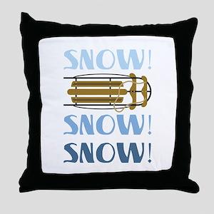 Snow Sled Throw Pillow