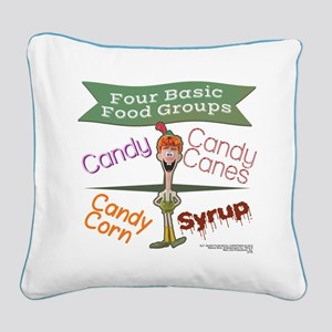 Four Basic Food Groups Square Canvas Pillow