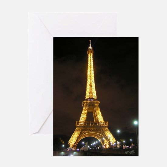 Eiffel Tower At Night Card Greeting Cards