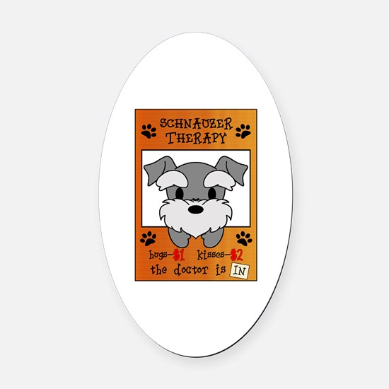 Schnauzer Therapy Oval Car Magnet