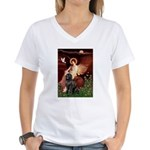 Angel & Newfoundland Women's V-Neck T-Shirt