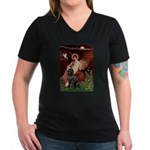 Angel & Newfoundland Women's V-Neck Dark T-Shirt