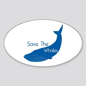 Save The Whales Blue Whale cause Oval Sticker