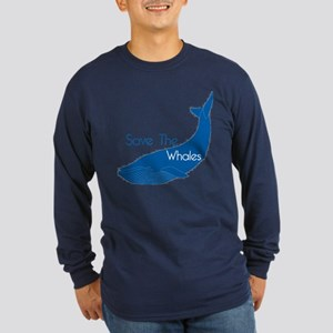 Save The Whales Blue Whale cause Long Sleeve Dark