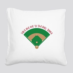 Baseball Game Square Canvas Pillow