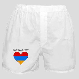 Custom Armenia Flag Heart Boxer Shorts