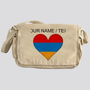 Custom Armenia Flag Heart Messenger Bag