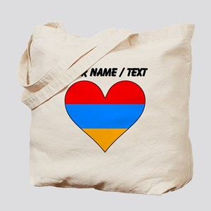 Custom Armenia Flag Heart Tote Bag