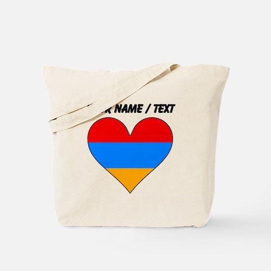Custom Armenia Flag Heart Tote Bag