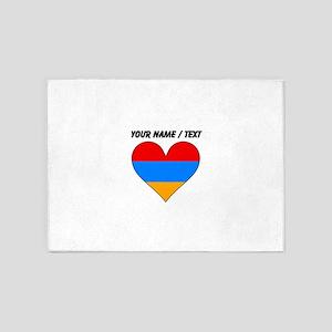Custom Armenia Flag Heart 5'x7'Area Rug