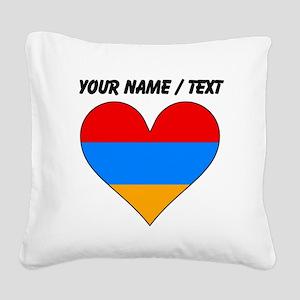 Custom Armenia Flag Heart Square Canvas Pillow
