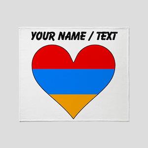 Custom Armenia Flag Heart Throw Blanket