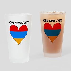Custom Armenia Flag Heart Drinking Glass