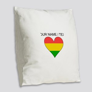 Custom Bolivia Flag Heart Burlap Throw Pillow