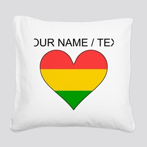 Custom Bolivia Flag Heart Square Canvas Pillow