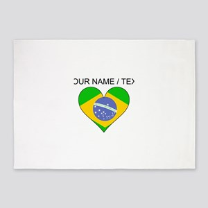 Custom Brazil Flag Heart 5'x7'Area Rug