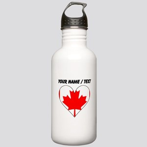 Custom Canada Flag Heart Water Bottle