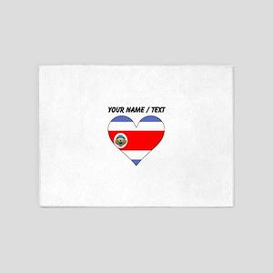 Custom Costa Rica Flag Heart 5'x7'Area Rug