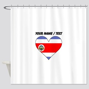Custom Costa Rica Flag Heart Shower Curtain