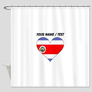Custom Costa Rica Flag Heart Shower Curtain