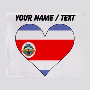Custom Costa Rica Flag Heart Throw Blanket