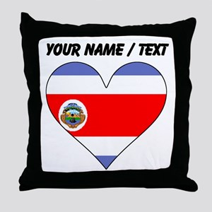 Custom Costa Rica Flag Heart Throw Pillow