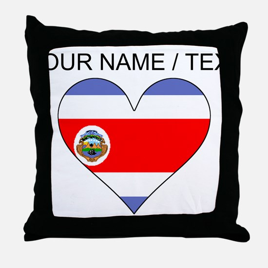 Custom Costa Rica Flag Heart Throw Pillow