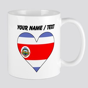 Custom Costa Rica Flag Heart Mugs