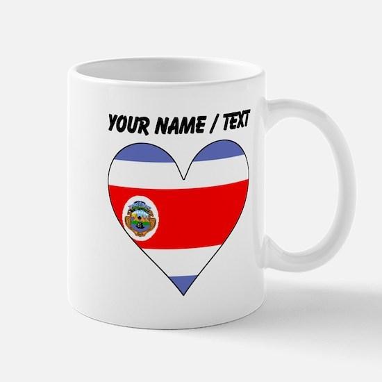 Custom Costa Rica Flag Heart Mugs