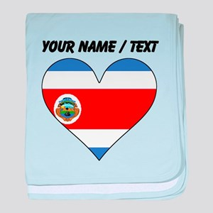 Custom Costa Rica Flag Heart baby blanket