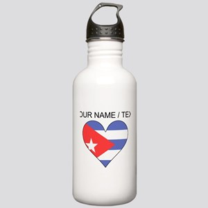 Custom Cuba Flag Heart Water Bottle