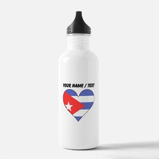 Custom Cuba Flag Heart Water Bottle