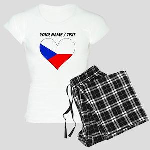 Custom Czech Republic Flag Heart Pajamas
