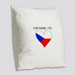 Custom Czech Republic Flag Heart Burlap Throw Pill