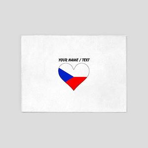 Custom Czech Republic Flag Heart 5'x7'Area Rug