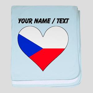 Custom Czech Republic Flag Heart baby blanket