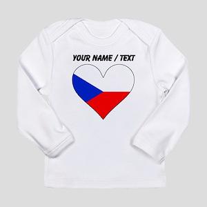 Custom Czech Republic Flag Heart Long Sleeve T-Shi