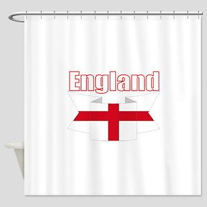 English Flag Ribbon - St George Cross Shower Curta