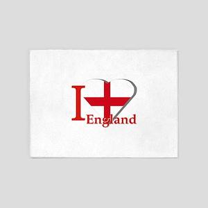 I Love England - St George Cross 5'x7'Area Rug