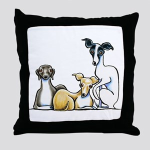 Italian Greyhound Trio Throw Pillow