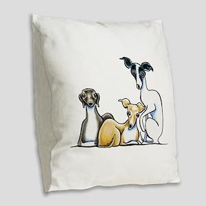 Italian Greyhound Trio Burlap Throw Pillow