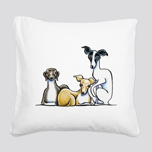 Italian Greyhound Trio Square Canvas Pillow