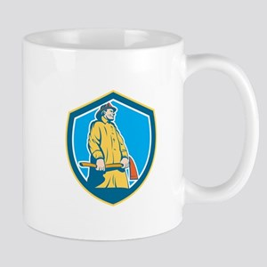 Fireman Firefighter Standing Axe Shield Retro Mugs