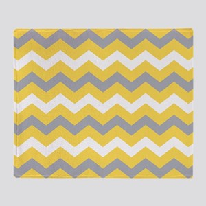 Yellow Gray Chevron Pattern Throw Blanket