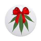 Marijuana christmas Round Ornaments