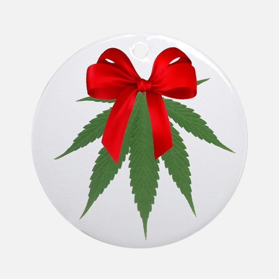 A Pot Of Mistletoe Ornament (round)