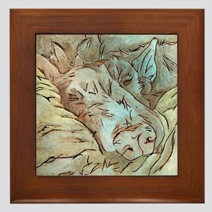 Let Sleeping Dogs Lie Framed Tile