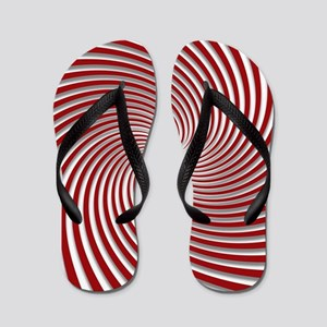 Red Peppermint Swirl and Shadows Flip Flops