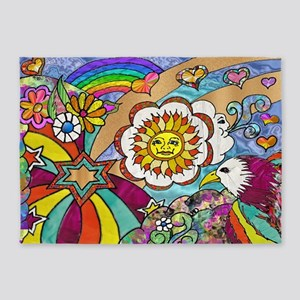 Psychedelic Sunshine Art 5'x7'Area Rug