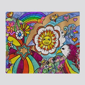 Psychedelic Sunshine Art Throw Blanket